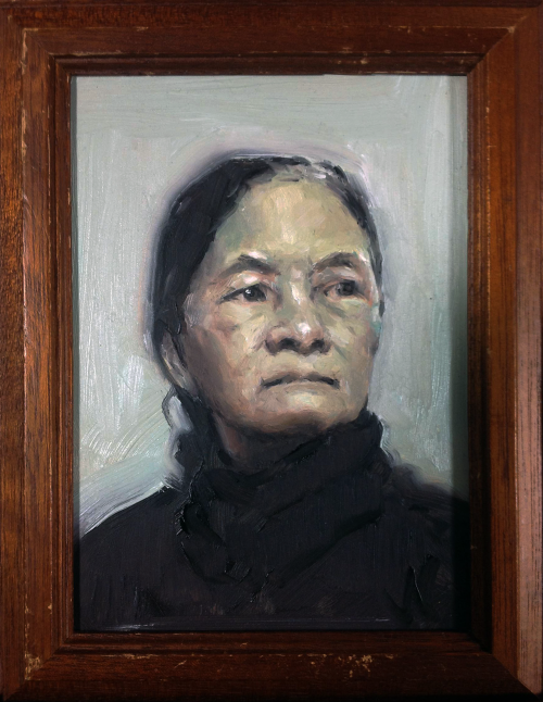 "Bà ngoại (2015) Oil on Panel. 8x10 in. My gramma on my mom's side is reaching 80 (2017). She raised 4 kids for the most part by herself. She constantly worried and fussed about her grand kids' well being. ""Oh my its cold out, you should wear a jacket!"" she'd always say. Even when I'm an adult, she still buys me gummy bears that I've loved since I was a kid. She used to live with her kids in a neighborhood full of her old lady friends. But her kids got married and moved out, so now she lives in an apartment. I wish I could visit her on a daily basis."