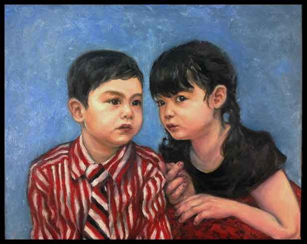 "Hai em (2015) Oil on Canvas. 18x24 in. Twins. Their nick name is ""Un"" and ""In,"" which together is the sound that a pig-- their zodiac-- would make. My sister is quiet, but when the rowdy brother is around, they are both monsters."